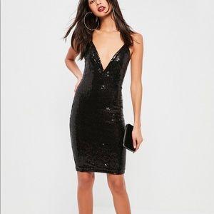 Black Sequin Midi Plunge Deep V Dress